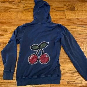 Kids hoodie with rhinestone cherry design on back